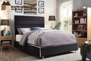 Brisbane Queen Bed Frame - Black Linen/Chrome Metal