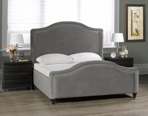 Kingston Platform Bed - Premium Light Grey Velvet 🇨🇦