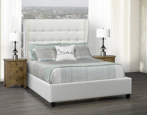 Mali Platform Bed - White Leatherette 🇨🇦