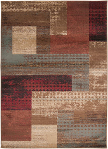 "Contemporary 5' 3"" x 7' 6"" Area Rug, Red"