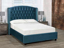 Load image into Gallery viewer, Sophia Platform Bed - Teal Blue Velvet 🇨🇦