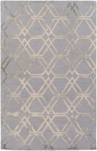 "Geometric 5' x 7' 6"" Area Rug, Grey"