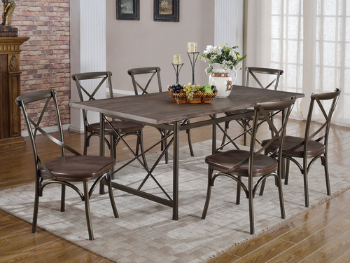 Cloe 7PC Dining Set - Dark Walnut/Copper