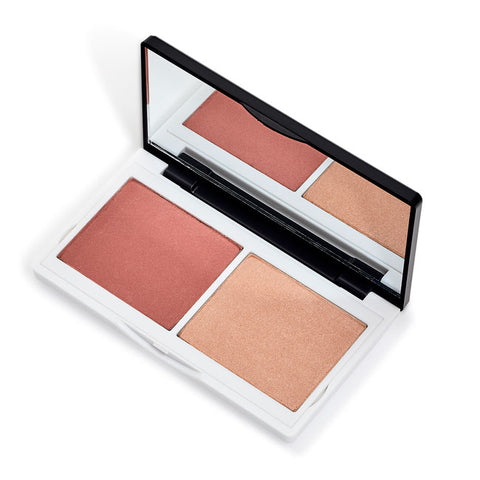 CORALISTA CHEEK DUO <br> Matte Coral blush + light reflecting Highlighter