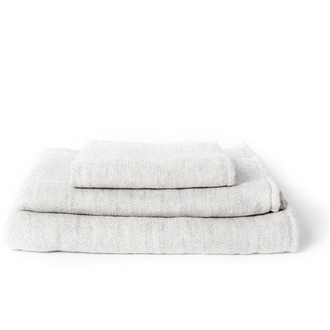CLAIRE TOWEL, SILVER GREY <br> Soft woven towel with terry pile back. Organic cotton & linen