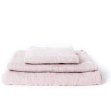 CLAIRE TOWEL, SMOKY PINK <br> Soft woven towel with terry pile back. Organic cotton & linen