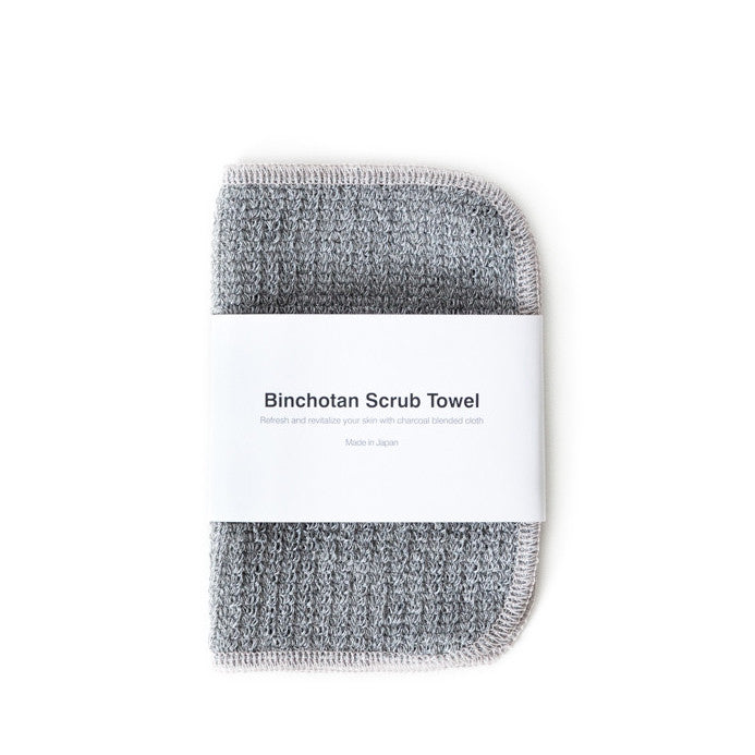 BINCHOTAN FACE SCRUB TOWEL <br> Charcoal impregnated cleansing fibres