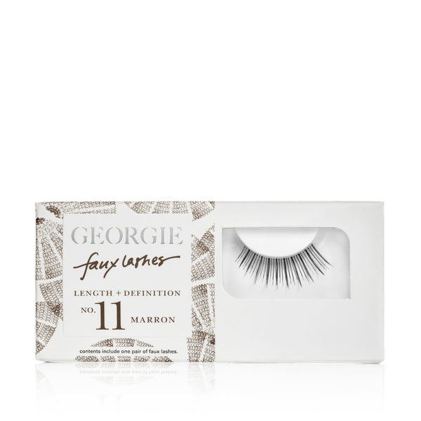 GEORGIE FAUX LASHES No.11 <br> 'Marron'. Length plus Definition in rich brown