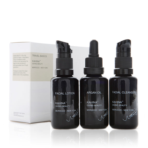 KAHINA TRAVEL BASICS <br> Facial Cleanser, Facial Lotion, Argan Oil