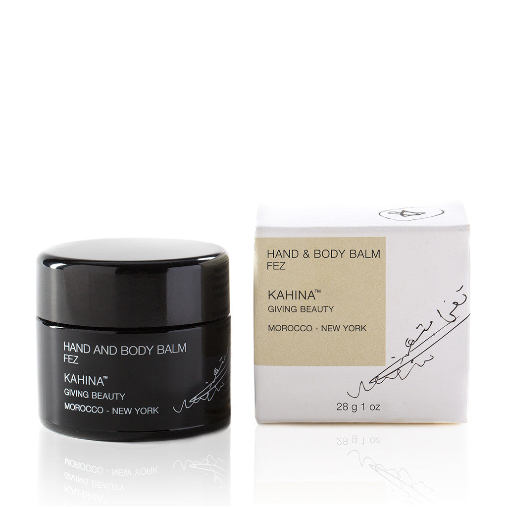 FEZ HAND & BODY BALM <br> Kahina's richest moisturiser blends Argan oil, plant butters and oils, and beeswax, 28g