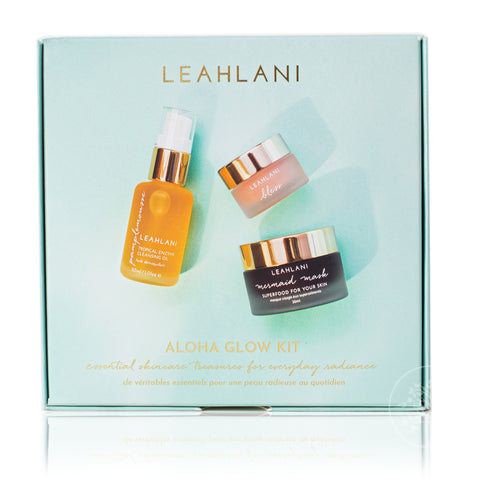 "ALOHA GLOW KIT <br> Deluxe mini's of Leahlani's 3 most popular skincare essentials <br><div style=""color: #ff2a00;"">PREORDER NOW</div>"