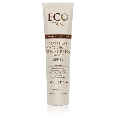 NATURAL COCONUT SUNSCREEN <br> SPF 30. Broad Spectrum UVA/UVB Protection, 150ml