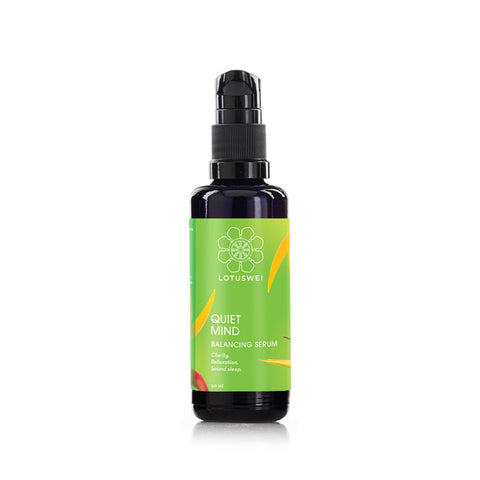 QUIET MIND BALANCING SERUM <br> Flower Essences + Essential Oils. Apply to face & pulse points, 50ml