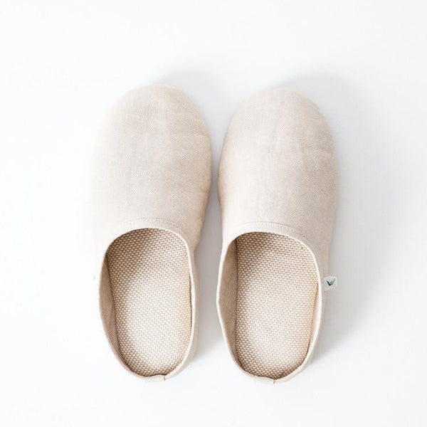SASAWASHI ROOM SHOES, BEIGE <br> Antibacterial fabric that absorbs moisture and odours from the skin
