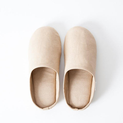 SASAWASHI ROOM SHOES, CAMEL <br> Antibacterial fabric that absorbs moisture and odours from the skin