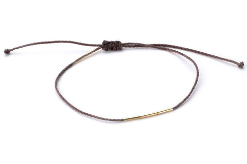 Bamboo Bracelet Brown <br> 14K YELLOW GOLD <br> HORTENSE