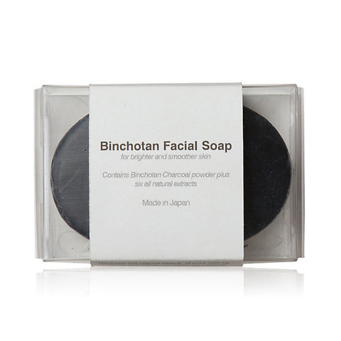BINCHOTAN FACIAL SOAP <br> Detoxify yourself and scrub away all the daily grime with Binchotan (white charcoal) soap, 90g