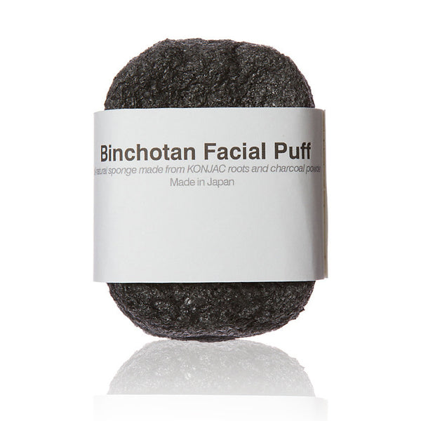 BINCHOTAN CHARCOAL FACIAL PUFF <br> Gently exfoliates skin and balances its natural PH level