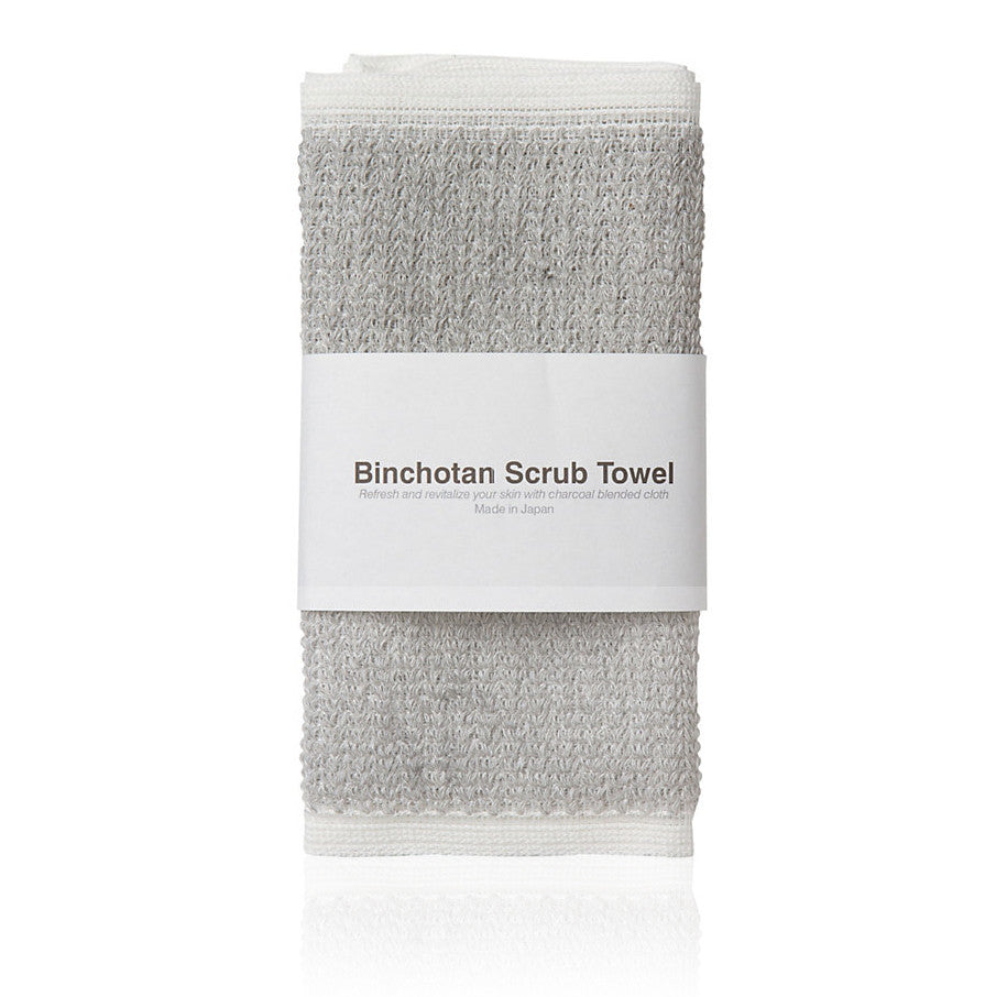 BINCHOTAN BODY SCRUB TOWEL <br> Charcoal impregnated cleansing fibres