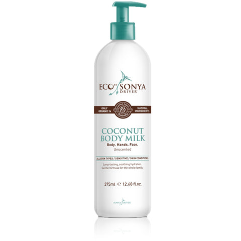 COCONUT BODY MILK <br> Body. Hands. Face. Unscented, suitable for all skin types including sensitive, 375ml