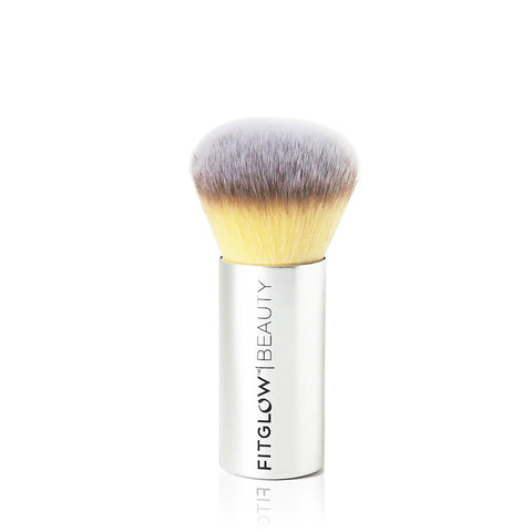 VEGAN ROUND TEDDY BRUSH <br> Flawlessly blends Vita-Set Powder for a long lasting even complexion