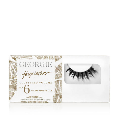 GEORGIE FAUX LASHES No.6<br>'Mademoiselle'  Naturalistic Clustered Volume. Cluster design mimics the lengths of natural lashes. A perfect step between half lashes and full lashes<br>GEORGIE BEAUTY