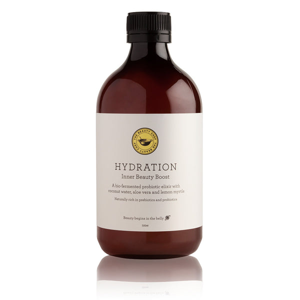 HYDRATION Inner Beauty Boost 500ml <br> A delicious bio-fermented probiotic elixir with coconut water, aloe vera and lemon myrtle. Certified organic <br> THE BEAUTY CHEF