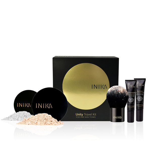 TRAVEL ESSENTIAL KIT <br> All of Inika's signature foundation essentials for a flawless face and healthy skin in mini travel sizes <br> [ 4 shades ]