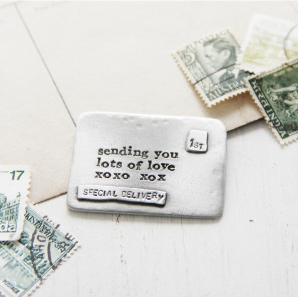 Lots of Love Envelope Message<br>PEWTER POCKET TOKEN<br> KUTUU