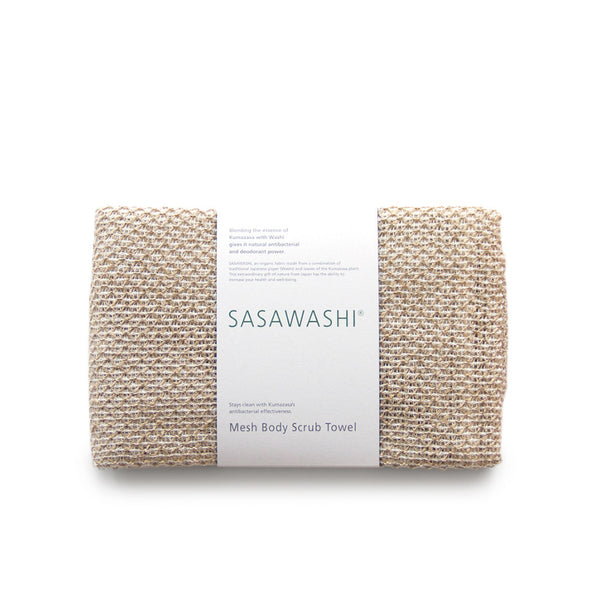 SASAWASHI MESH BODY SCRUB TOWEL<br> Removes dead skin cells and excess oil. Natural anti-bacterial fabric prevents odours and mildew