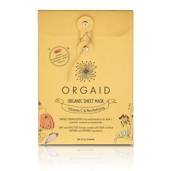 VITAMIN C & REVITALIZING <br> ORGANIC SHEET MASK BOX <br> 6 Sheets