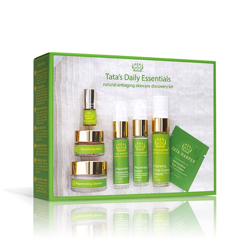 TATA'S DAILY ESSENTIALS: NATURAL ANTIAGING SKINCARE DISCOVERY KIT <br> A complete travel-sized regimen that provides every step you need for beautiful, glowing skin