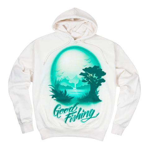 Airbrushed Souvenir #3 Hoodie, Natural