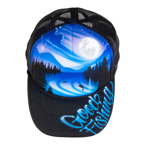 Airbrushed Souvenir Trucker Hat, Black