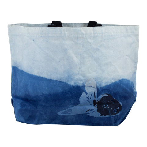 "All-Day Market Tote, Hand-Dyed Organic Indigo ""Wave"" Shibori"