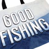 GOOD FISHING - All-Day Market Tote, Hand-Dyed Organic Indigo Dip - Graphic Detail