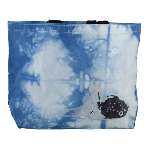 "All-Day Market Tote, Hand-Dyed Organic Indigo ""Check"" Shibori"