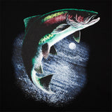 GOOD FISHING - Rainbow Trout Organic Cotton T-Shirt, Black - Graphic Detail