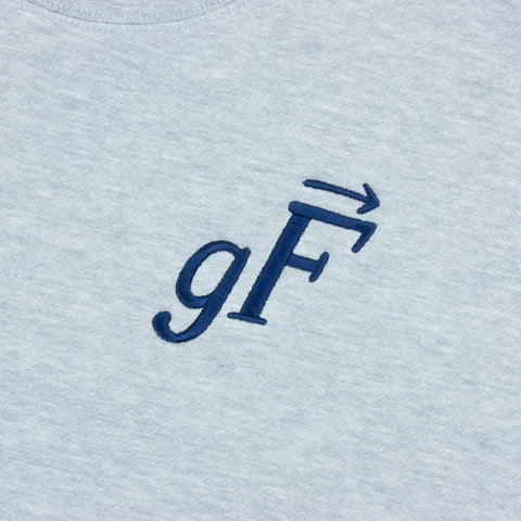 gF Logo Crewneck Sweatshirt, Heather Grey / Navy