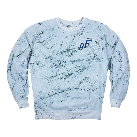 gF Logo Crewneck Sweatshirt, Heather Grey Splatter / Navy