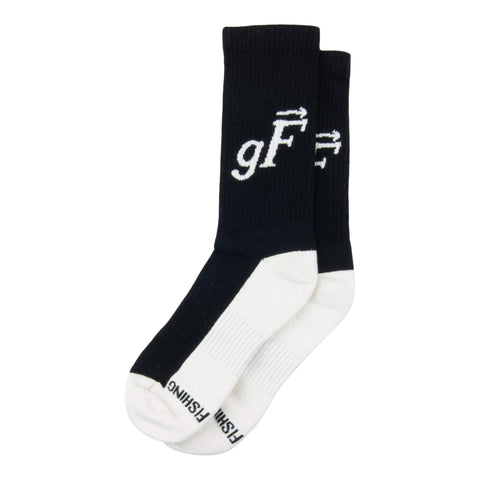 gF Logo Athletic Crew Socks, Black / Natural