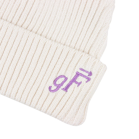gF Logo Beanie, Natural / Cosmic Purple