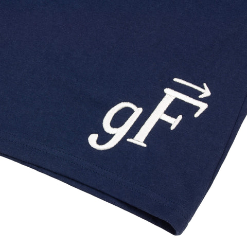 gF Logo Gym Shorts, Navy / White