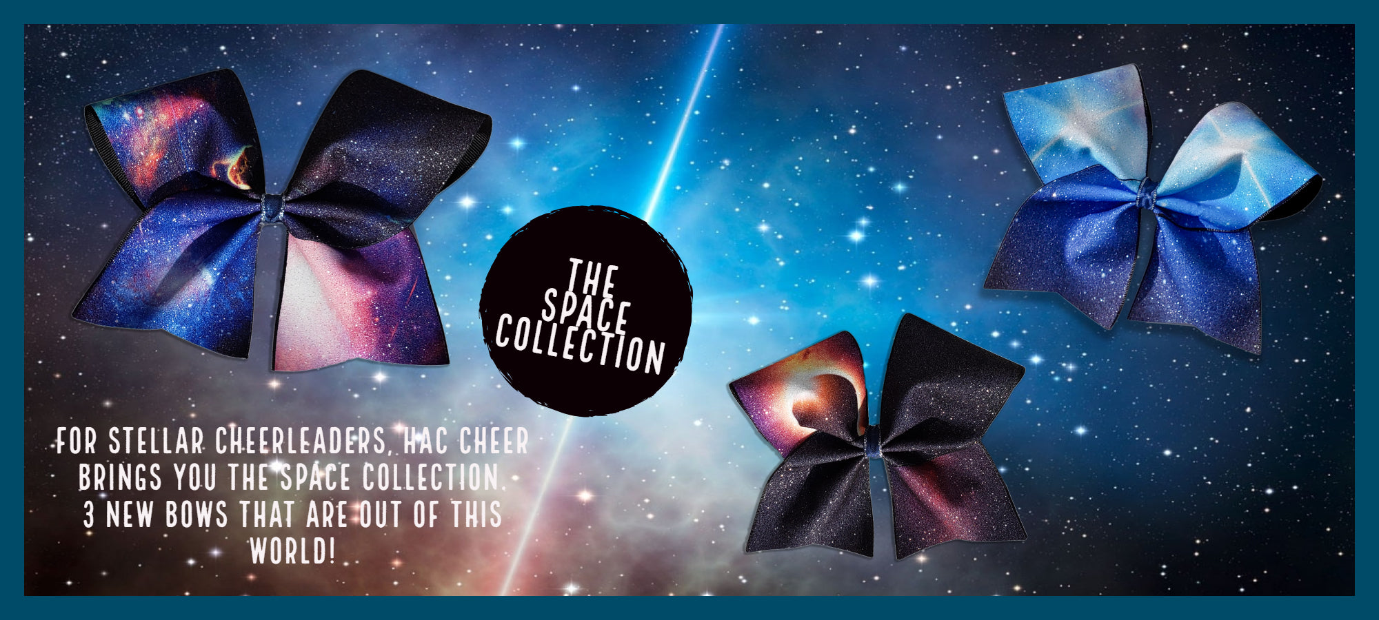 For stellar Cheerleaders, HAC Cheer brings you the Space Collection.  3 new bows that are out of this world!