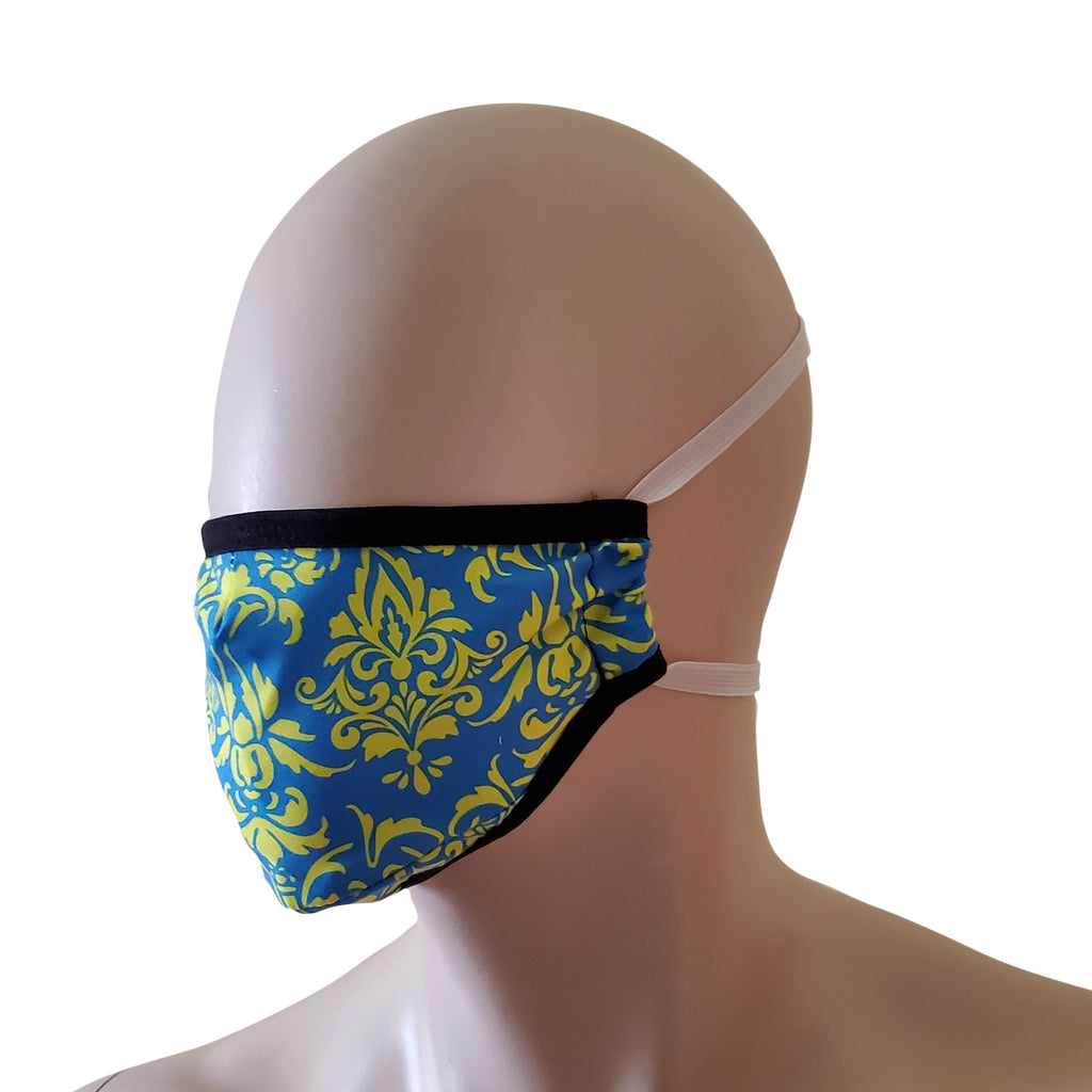 HAC Swim Washable Fabric Face Mask Face Covering Blue Damask Print