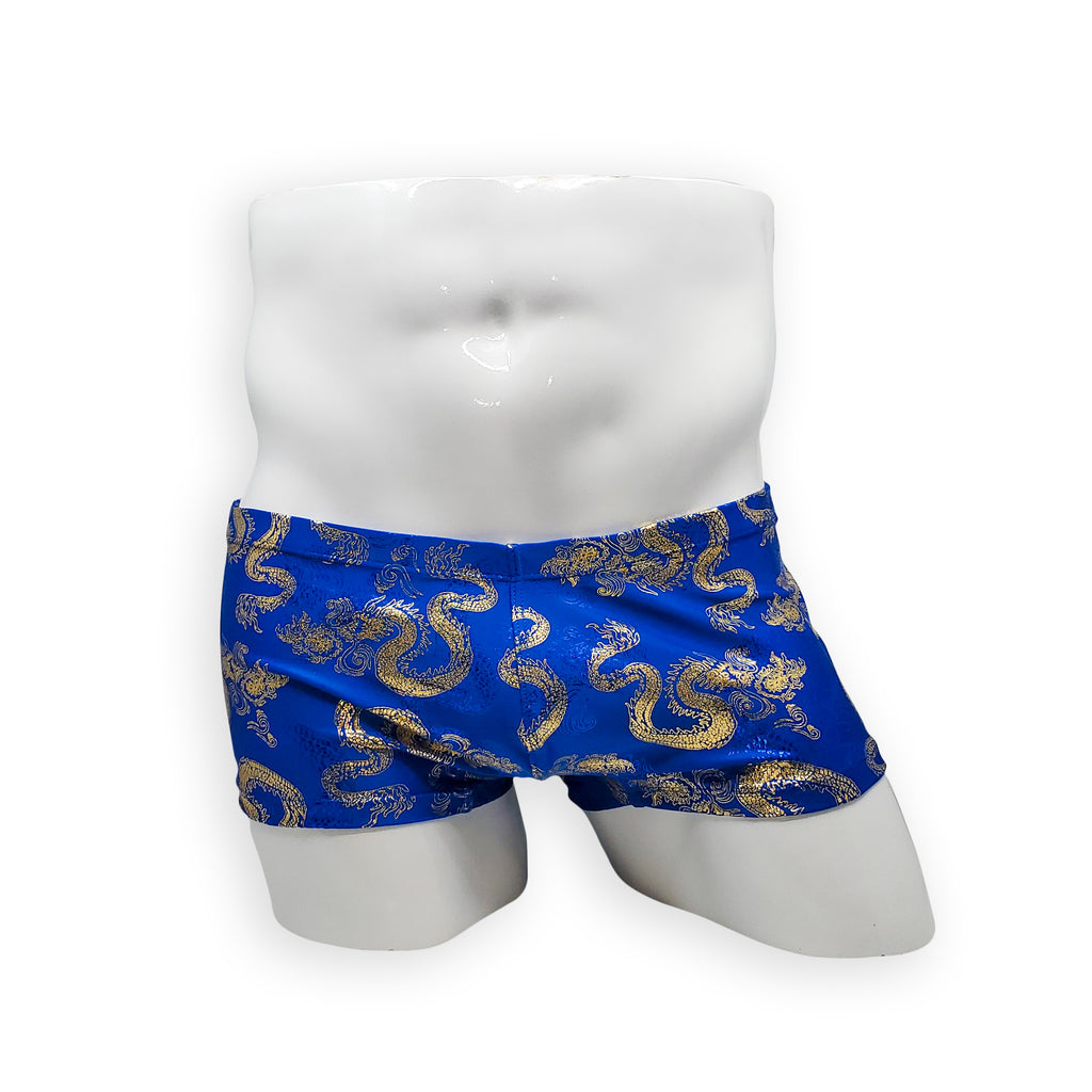 Mens Swimsuit Box Cut Swim Trunk in Blue Golden Fire Dragon Skin Print for Swimming Aesthetic Bodybuilding Posing or Mens Pole Dance