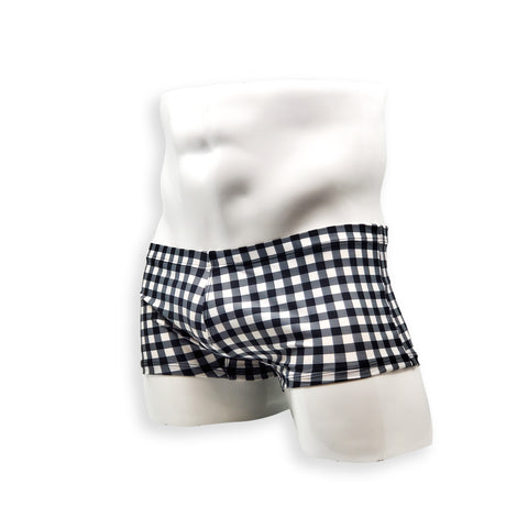 Box Cut Swim Trunk - Black Gingham