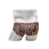 Mens Swimsuit Basic Swim Brief in Giraffe Print for Swimming Aesthetic Bodybuilding Posing or Mens Pole Dance