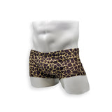 Mens Swimsuit Box Cut Swim Trunk in Giraffe for Swimming Aesthetic Bodybuilding Posing or Mens Pole Dance