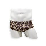 Mens Swimsuit Vintage Cut Swim Brief in Giraffe Print for Swimming Aesthetic Bodybuilding Posing or Mens Pole Dance